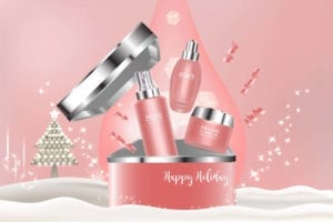 example of seasonal branding with pink make up brand on holiday background