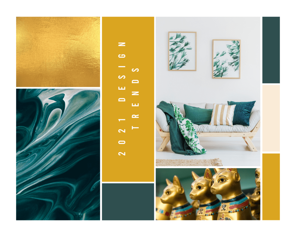 2021 graphic Design trends of tidewater green and fortuna gold